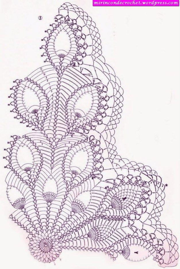 crochet_chart #crochet_pattern #crochet #doily   Patrones De Blonda ...