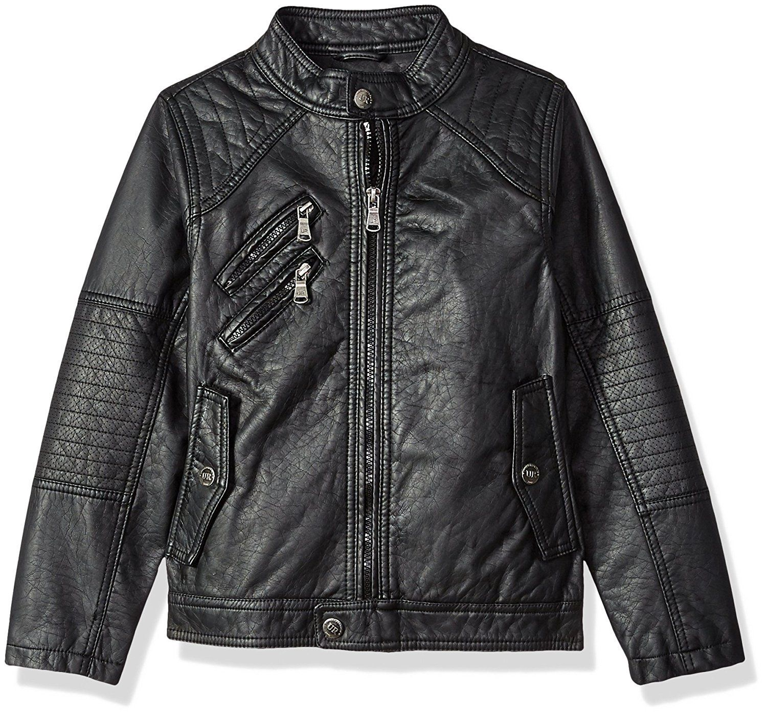 Urban Republic Boys' Faux Leather Jacket with Quilting