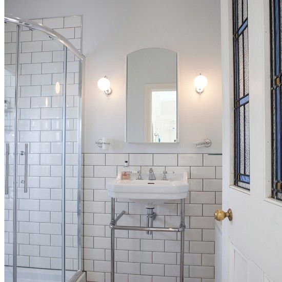 This ensuite shower room has a vintage new york feel Ensuite tile ideas pictures
