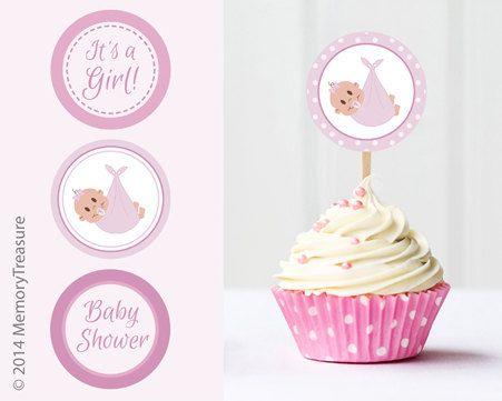 Girl Baby Shower Cupcake Toppers Printable Baby Shower Cup Cake Toppers  Cupcake Decorations DIY Baby Shower Itu0027s A Girl Pink Stork Blanket