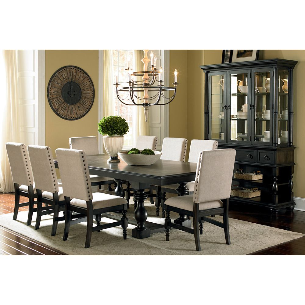 Loraine Trestle Beige Linen Nailhead Trim Dining Set