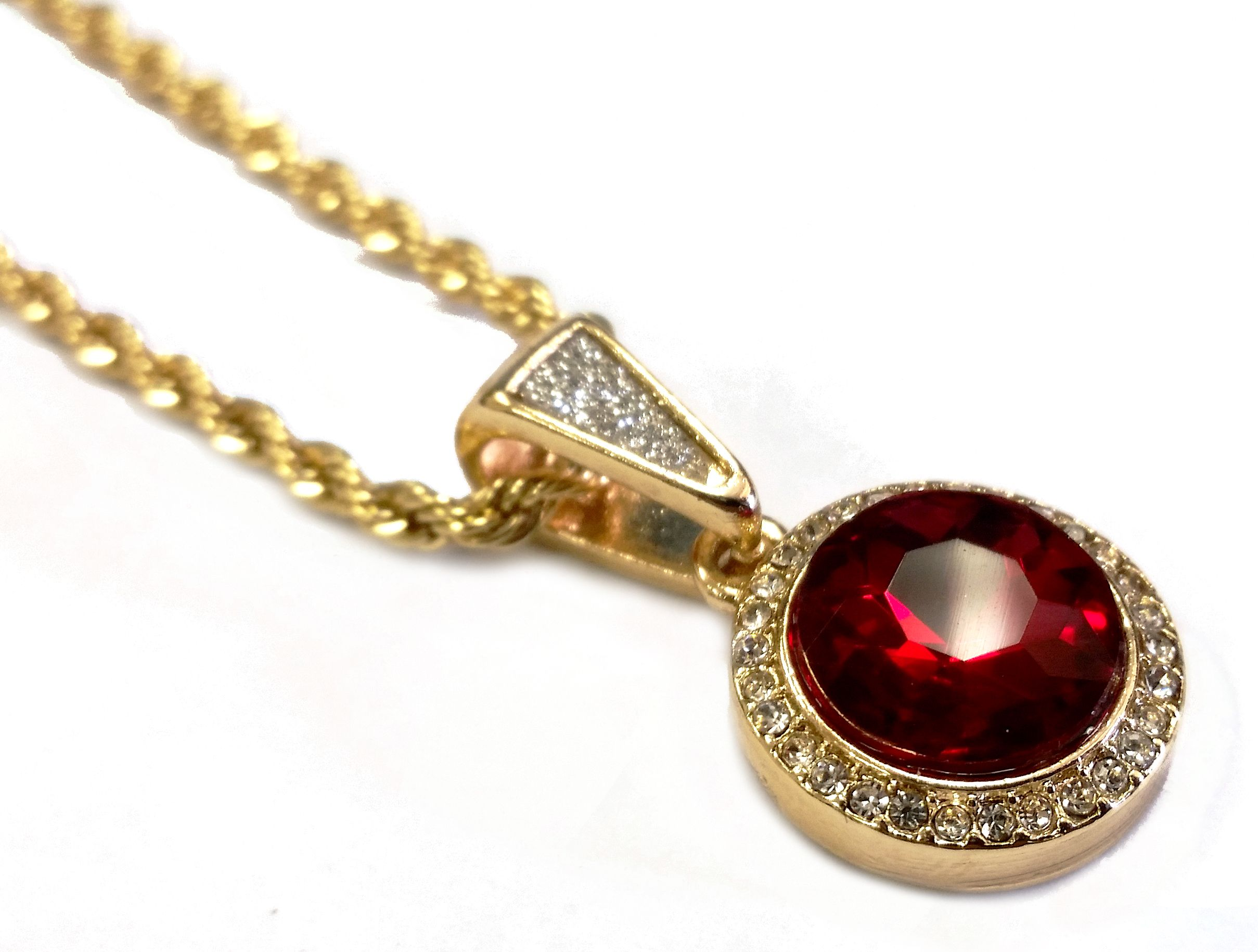 Labmade ruby pendant necklace with