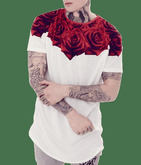 c36fe0fa5 LOJA HDR Masculina Branca Rosas Vermelhas Gamer 33 LOJA HDR CAMISETA LONG  LINE OVERSIZED MASCULINA BRANCA ROSAS VERMELHAS
