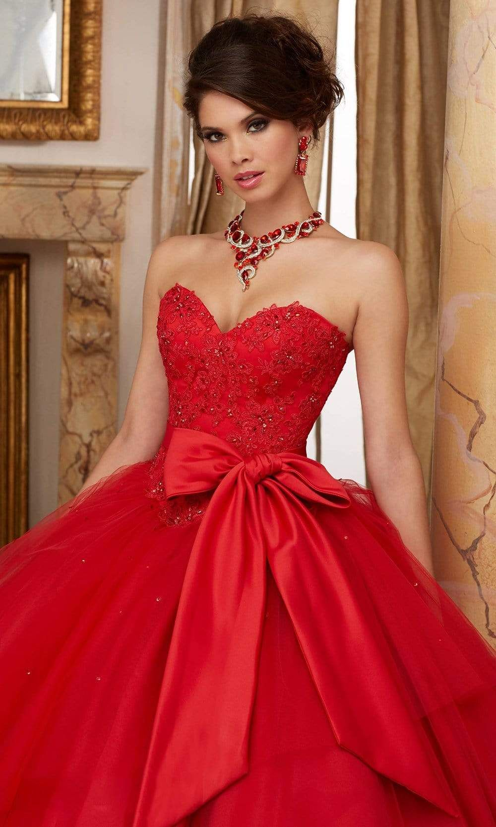 Vizcaya By Mori Lee 60003 Strapless Bow Accented Tulle Ballgown Pretty Quinceanera Dresses Mori Lee Quinceanera Dresses Quince Dresses [ 1666 x 1000 Pixel ]