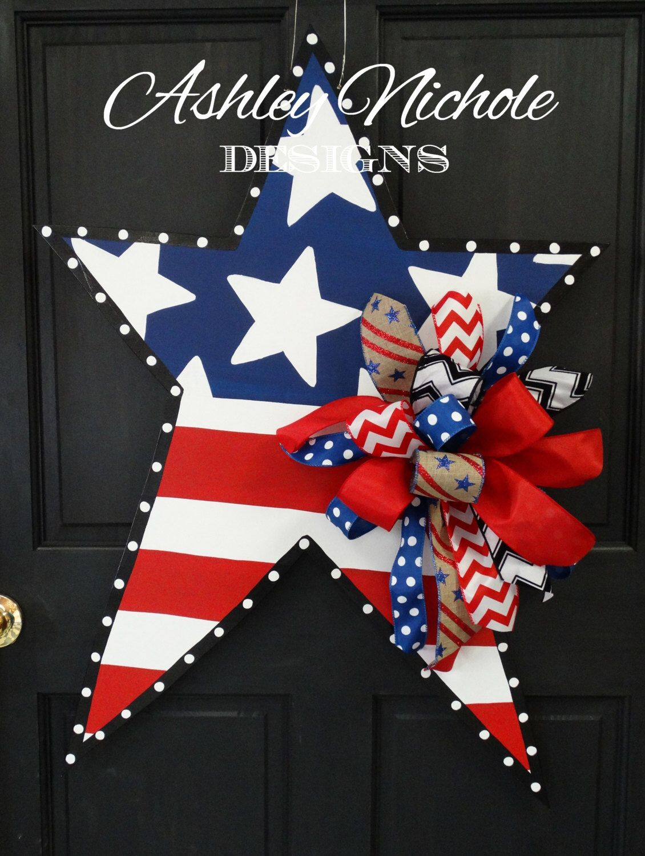 4th of July Patriotic Star Wooden Door Hanger, Door ...