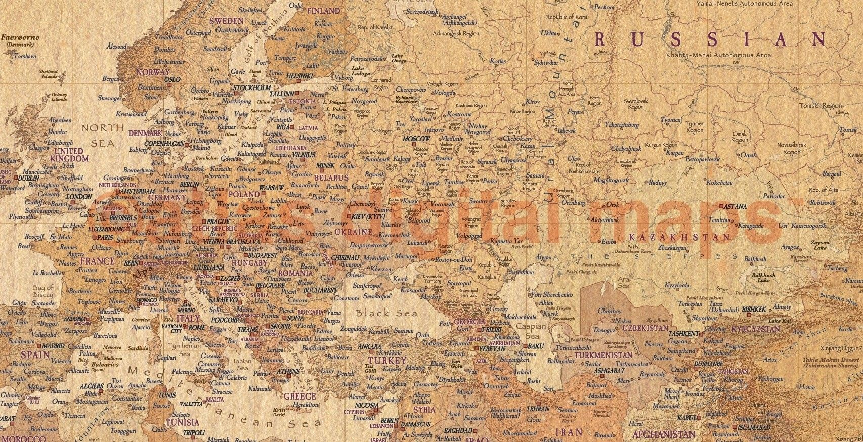 World Wall Map Print Tan Antiquestyle Rolled Canvas Large Size - Large world map antique