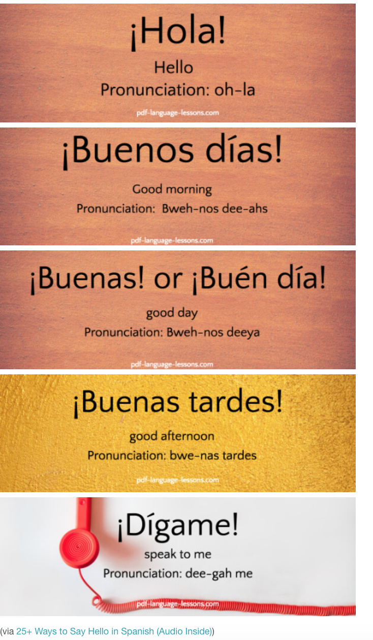 How To Say Hello In Spanish Education Pinterest Spanish Learn