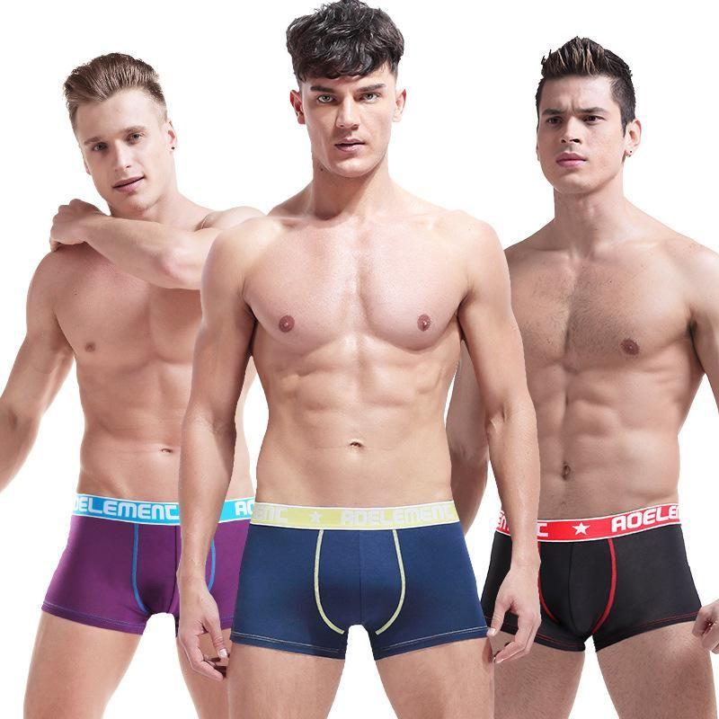 Wholesale Personality Men's Modal soft Underwear Sexy Breathable Contrast  Color Boxer Half-Separated U Pocket