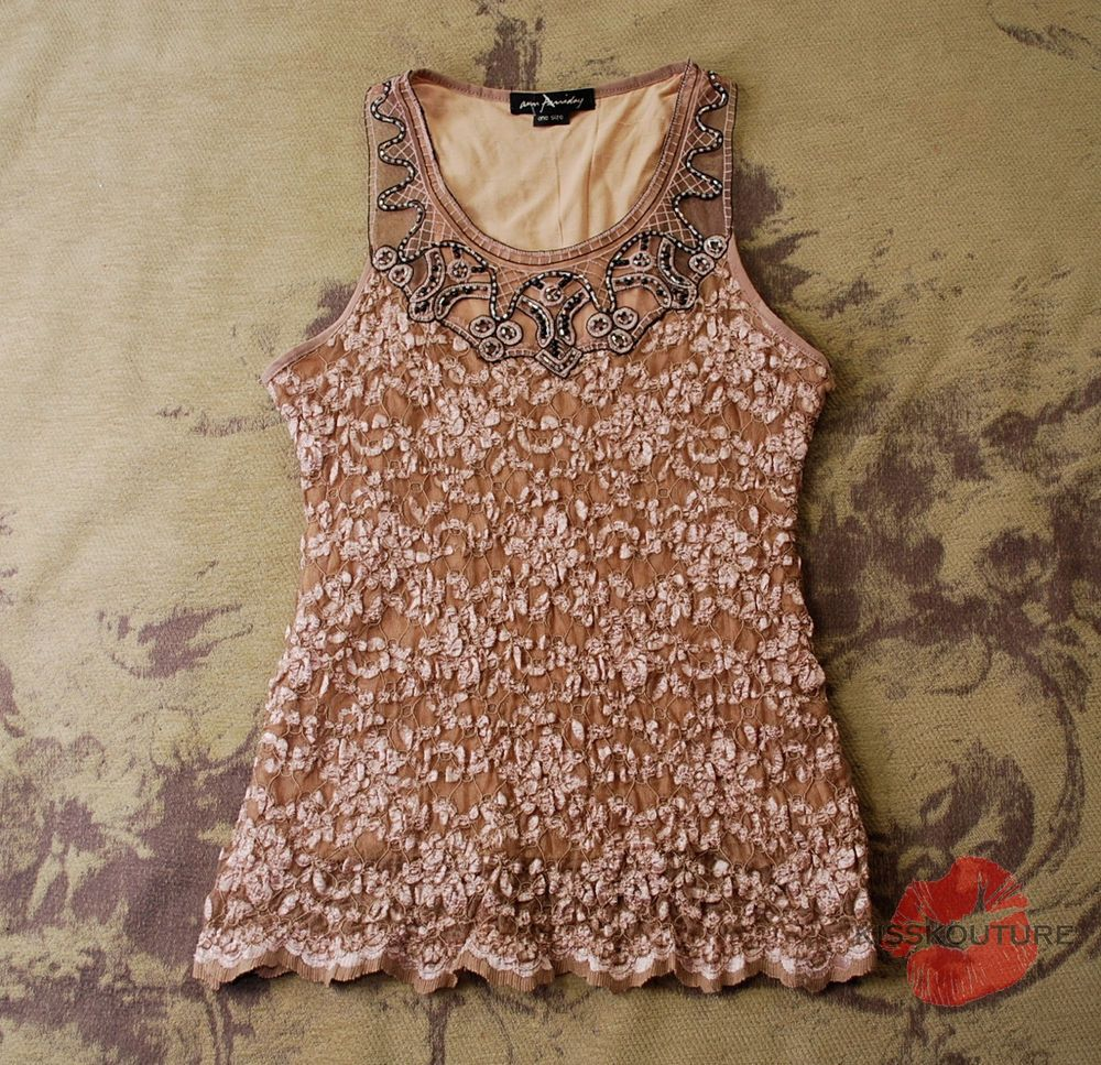 ANTHROPOLOGIE ANN FERRIDAY BEIGE NUDE LACE STRETCH BEADED BLOUSE SHIRT TOP OS XS #AnnFerriday #Blouse #EveningOccasion