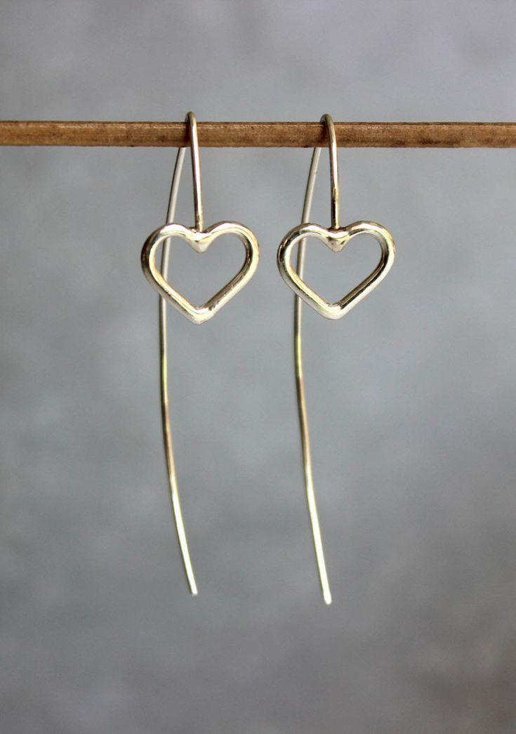 Silver Heart Earrings Silver heart earrings, Long drop earrings, Sterling silver wire earrings, Min