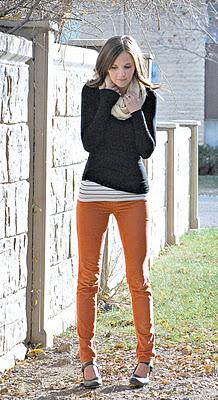 orange pants  striped top   grey sweater   ivory scarf