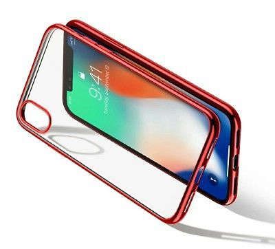 iPhone X Protective Shell Thin Silm Soft Clear Case Red With Free Glass Shield