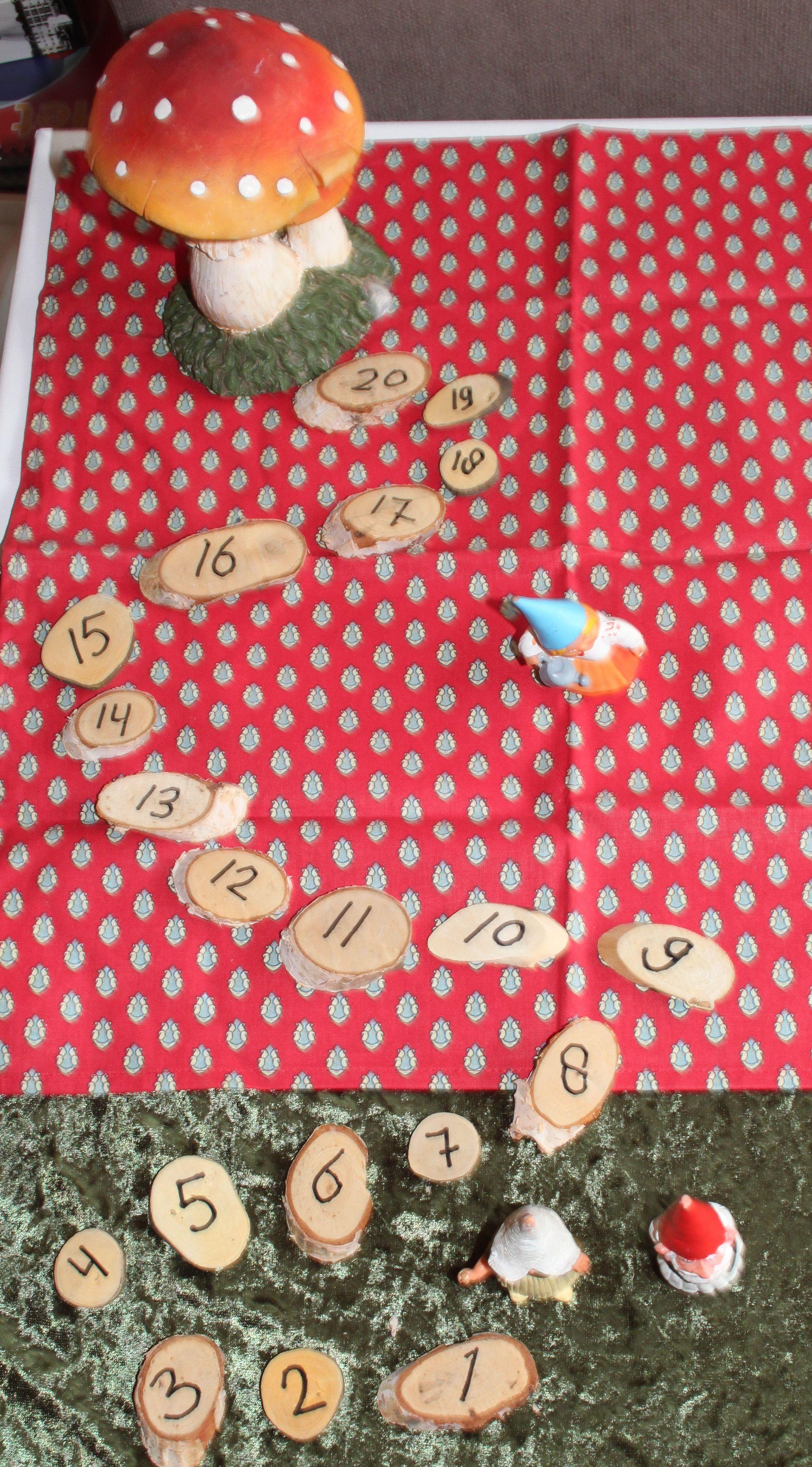 het stappenpad voor kabouters. op de houtsnippers staan de cijfers van 1 tot en met 20. In het bos is storm geweest. leg de cijfers in de juiste volgorde zodat het kabouter vrouwtje naar huis kan lopen.Gooi met de dobbelsteen en zet de stappen. Leg er een 2e pad naast en je kunt spelen wie het eerste op de plaats van bestemming is.