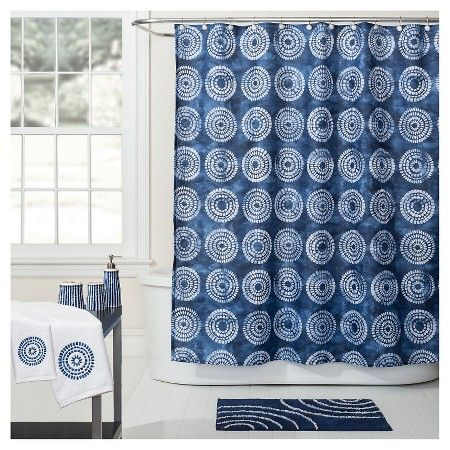 Waterfall Fabric Shower Curtain Blue White 70x72