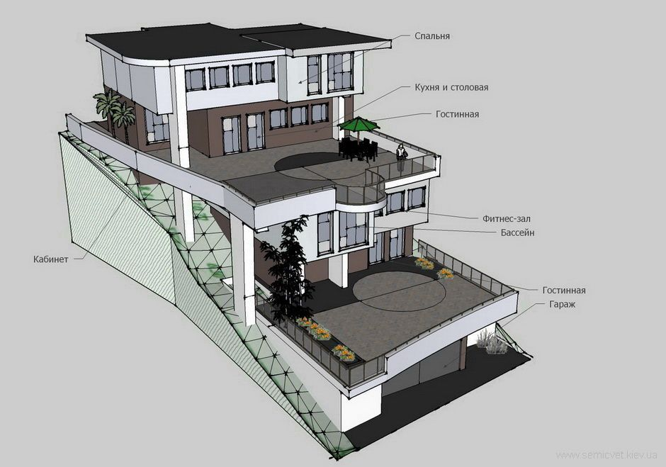 Houses On A Slope Designs Google Search Slope House Hillside House Sloping Lot House Plan Houses On Slopes