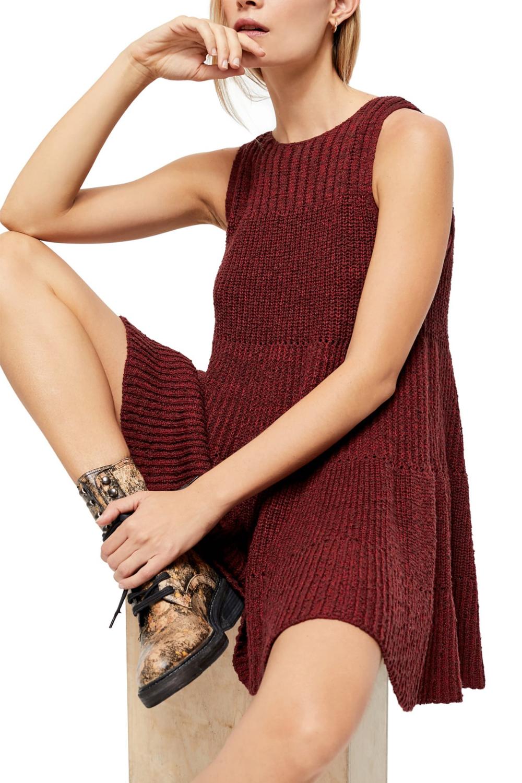 Free People Waterfall Ruffle Sleeveless Sweater Dress Knit