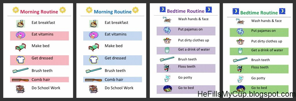 Free Printable Morning  Bedtime Routine Charts That You Can Edit
