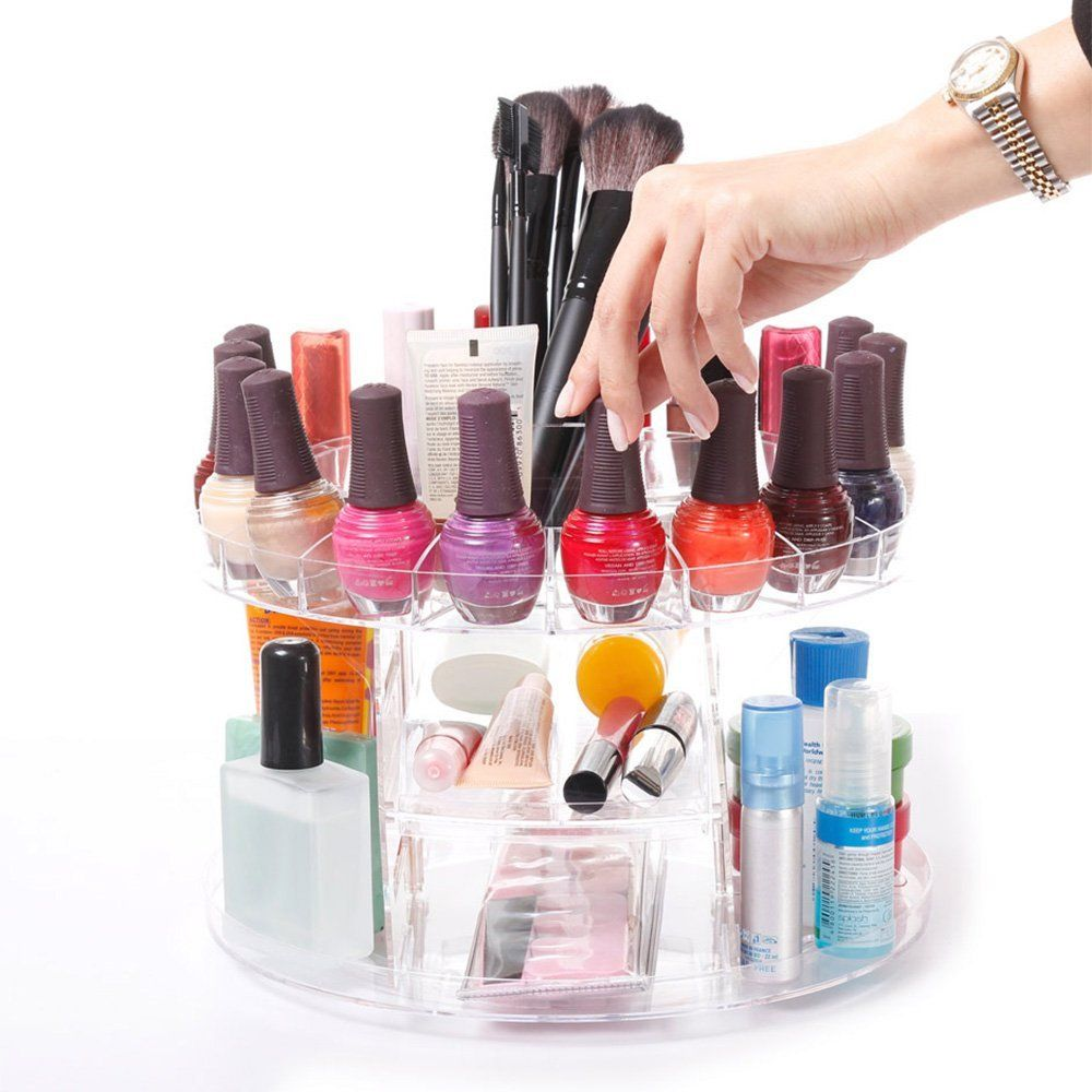 Modern Home Deluxe Rotating Clear Cosmetic Makeup Organizer -- You ...