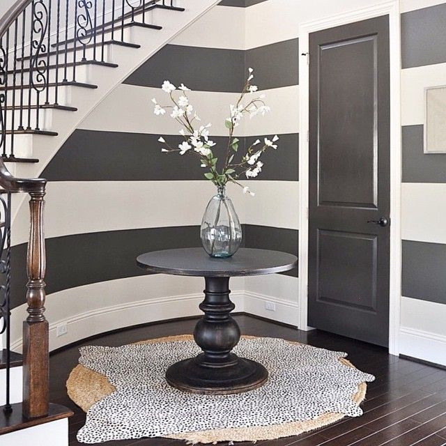 Wooden Stairs With Painted Stripes Updating Interior: Door Black Fox Stripe Urban Bronze SW 7020 By Sherwin