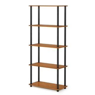 Furinno Turn N Tube 5 Tier Multipurpose Display Rack Cherry Finish Cherry Brown Furinno Shelves Display Shelves