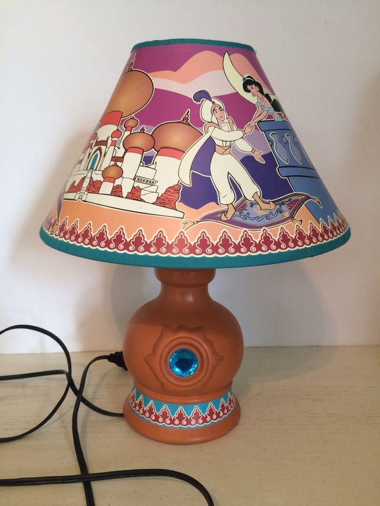 Vintage Disney Aladdin Ceramic Lamp W Shade Ceramic lamp