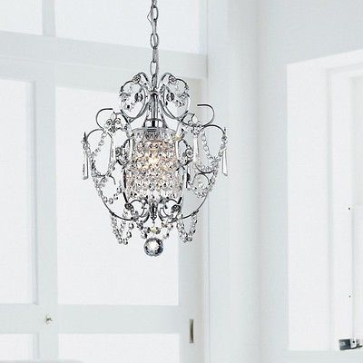 Crystal Chandelier Dining Room Lighting Foyer Small Pendant Light Fixture Chrome