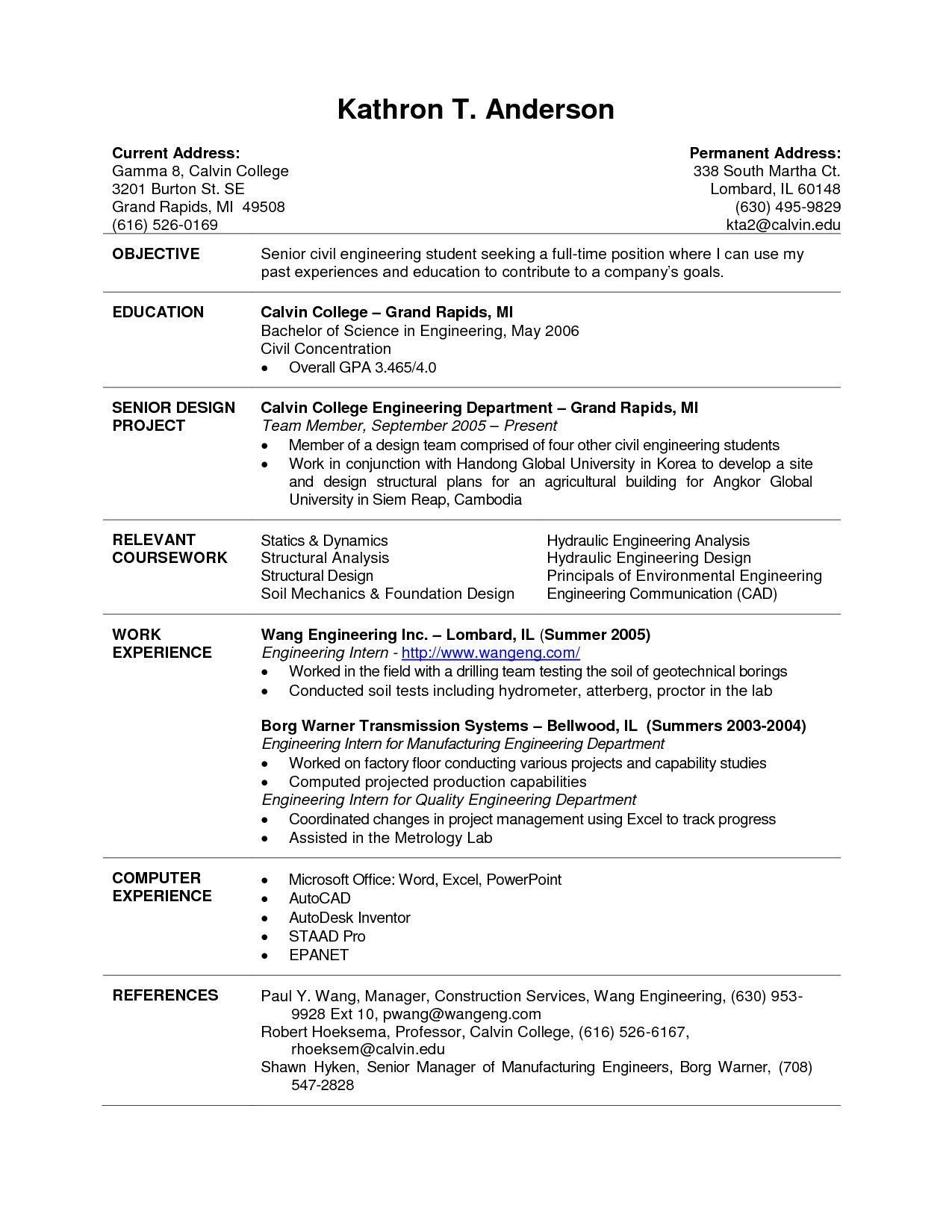 college resume format examples