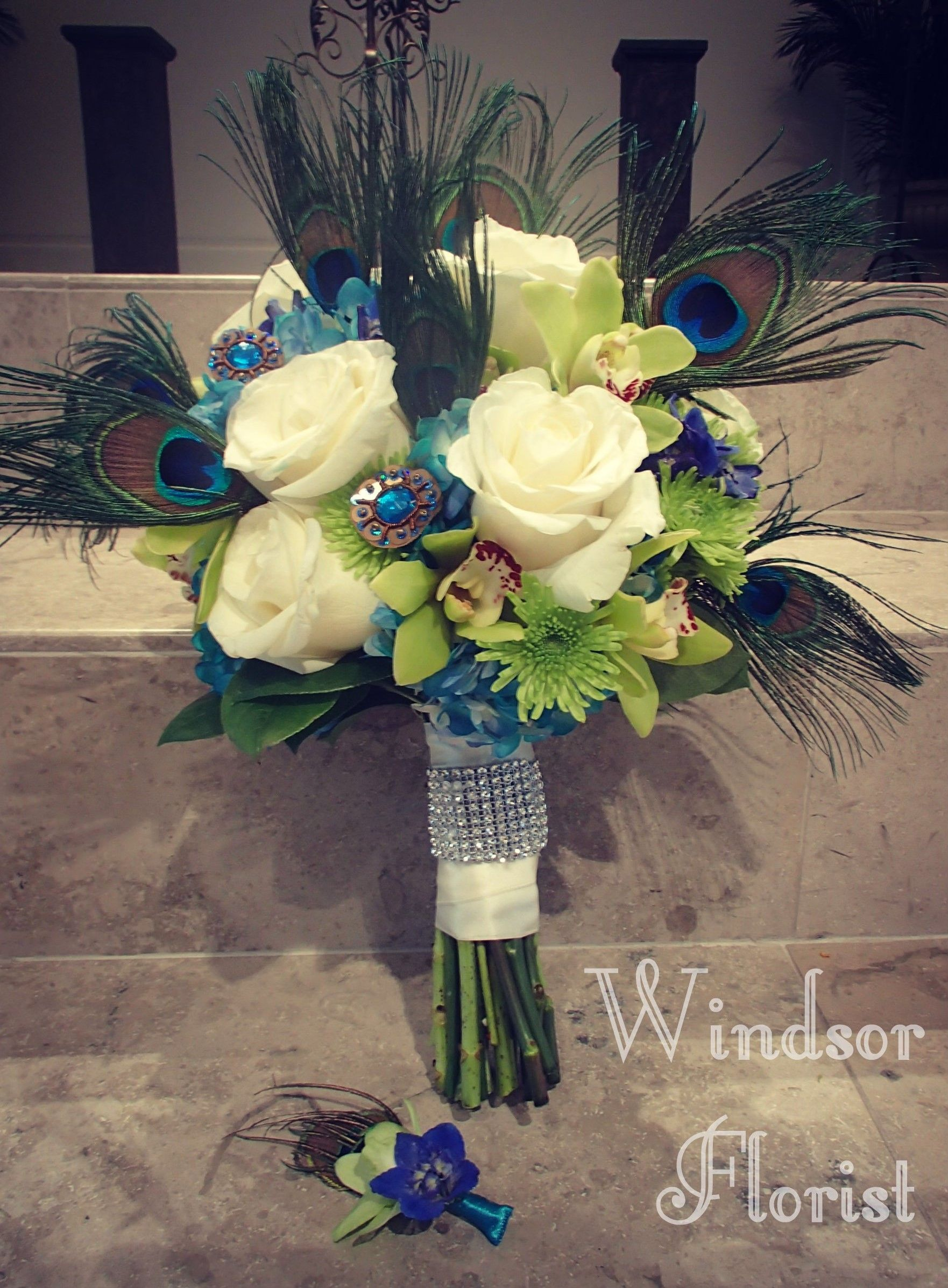 Bridal bouquet beautiful peacock tinted hydrangeas accented with