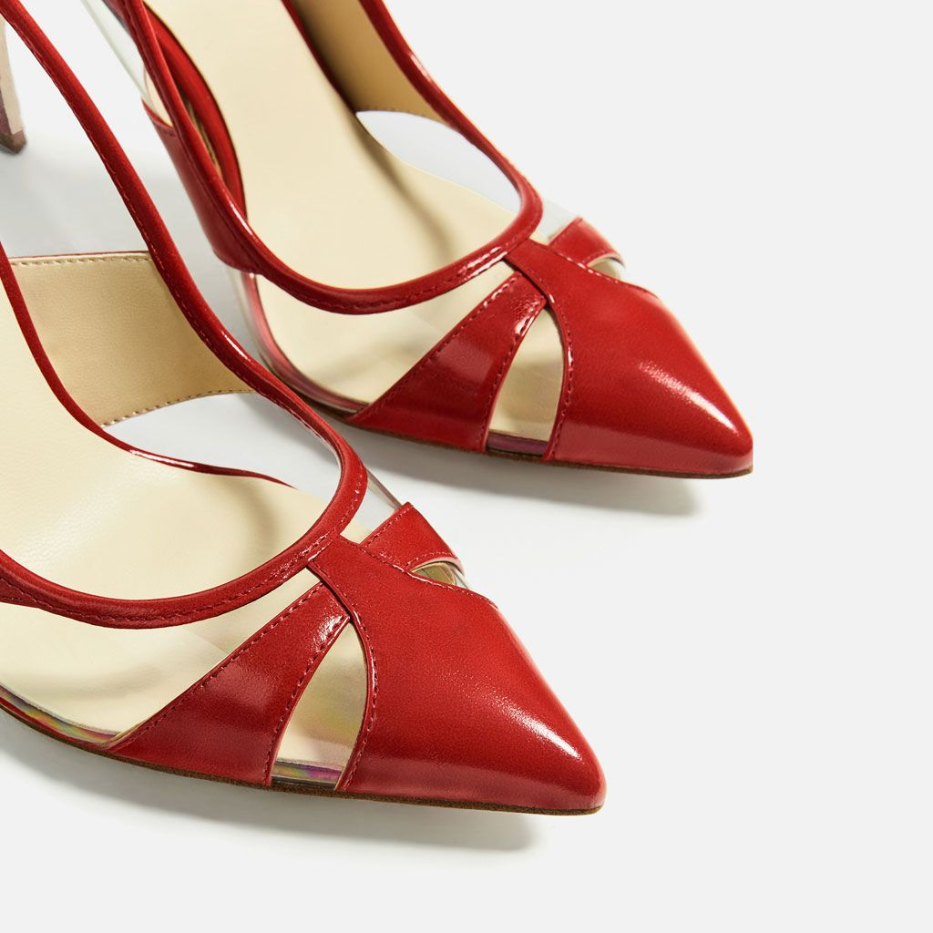 Image 1 Of Vinyl Red Court Shoe From Zara Red Court Shoes Shoes Art Deco Shoes