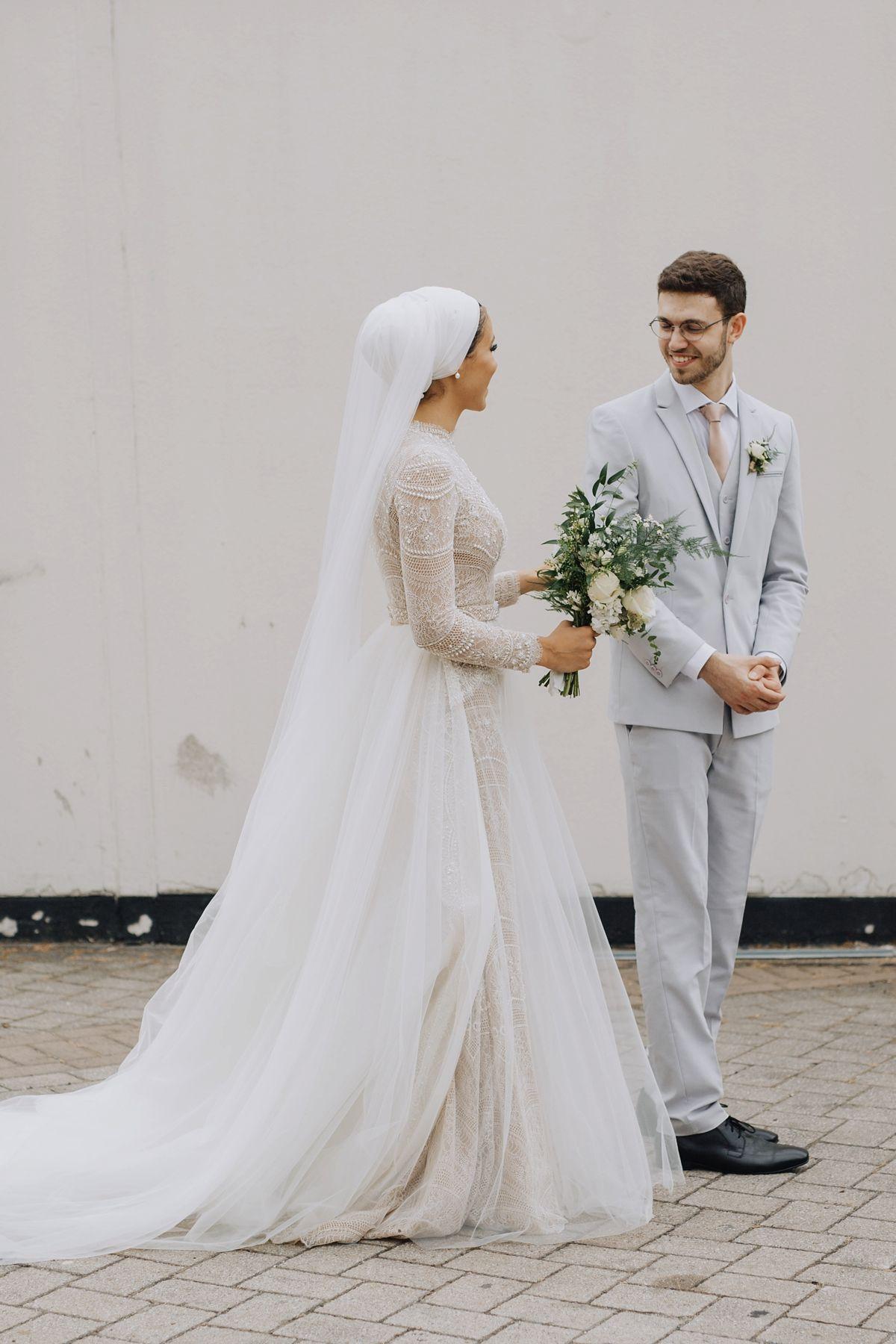 An Ersa Atelier Gown, Humara Waiza Hijab + First Look For Modern Multicultural Wedding in London