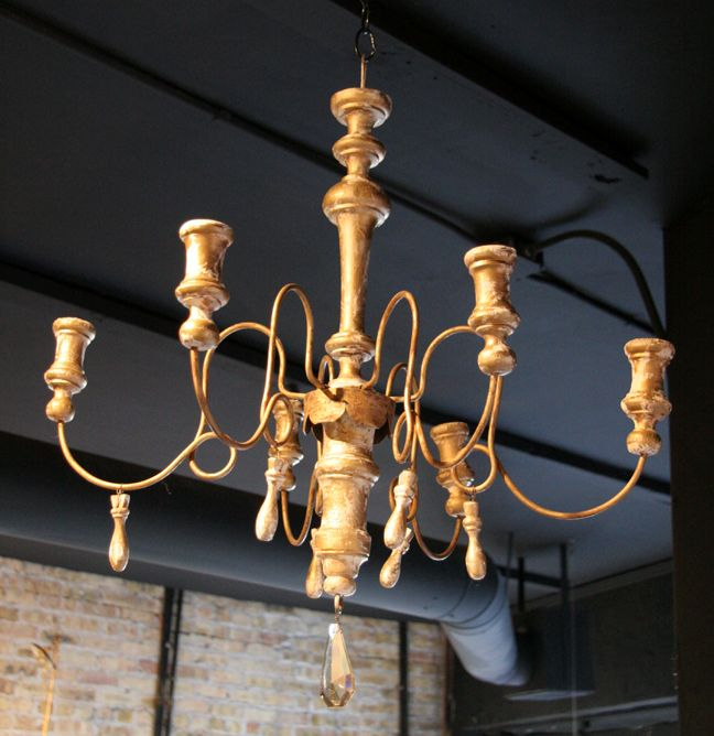 Antique French 6-Arm Gilt Wood Chandelier - SOLD - - Antique French 6-Arm Gilt Wood Chandelier - SOLD - Chandeliers
