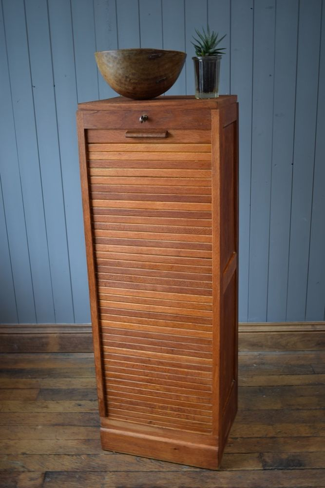 Vintage Antique French Light Oak Tambour Filing Cabinet DELIVERY ...