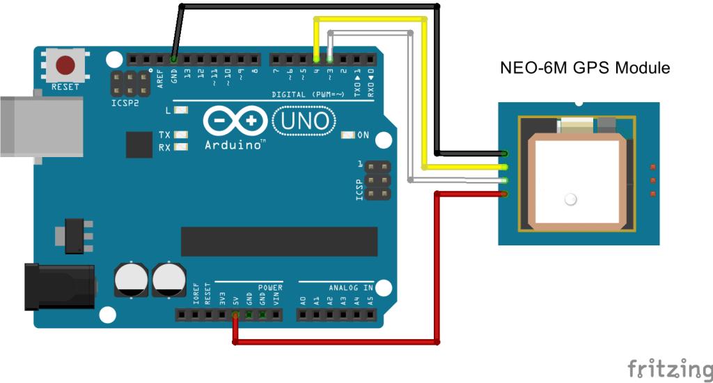 NEO-6M GPS Module with Arduino Schematic Diagram | Random