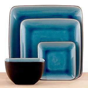 Aqua square dinnerware from World Market. Canu0027t find these but I like the look of the darker blue pooling the creases. & square dinnerware sets | Aqua Crackle Square Dinnerware | Shop home ...