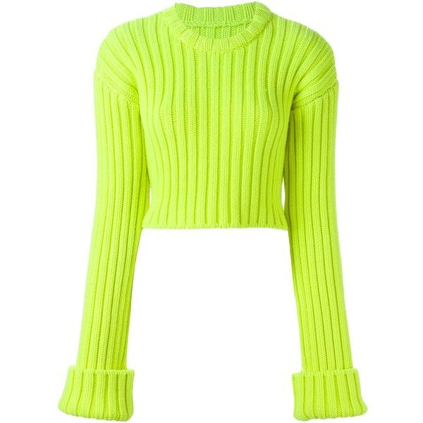 Mm6 Maison Margiela Ribbed Cropped Sweater (£375) ❤ liked on Polyvore featuring tops, sweaters, green, wool sweater, mm6 maison margiela, crop top, green sweater y rib sweater