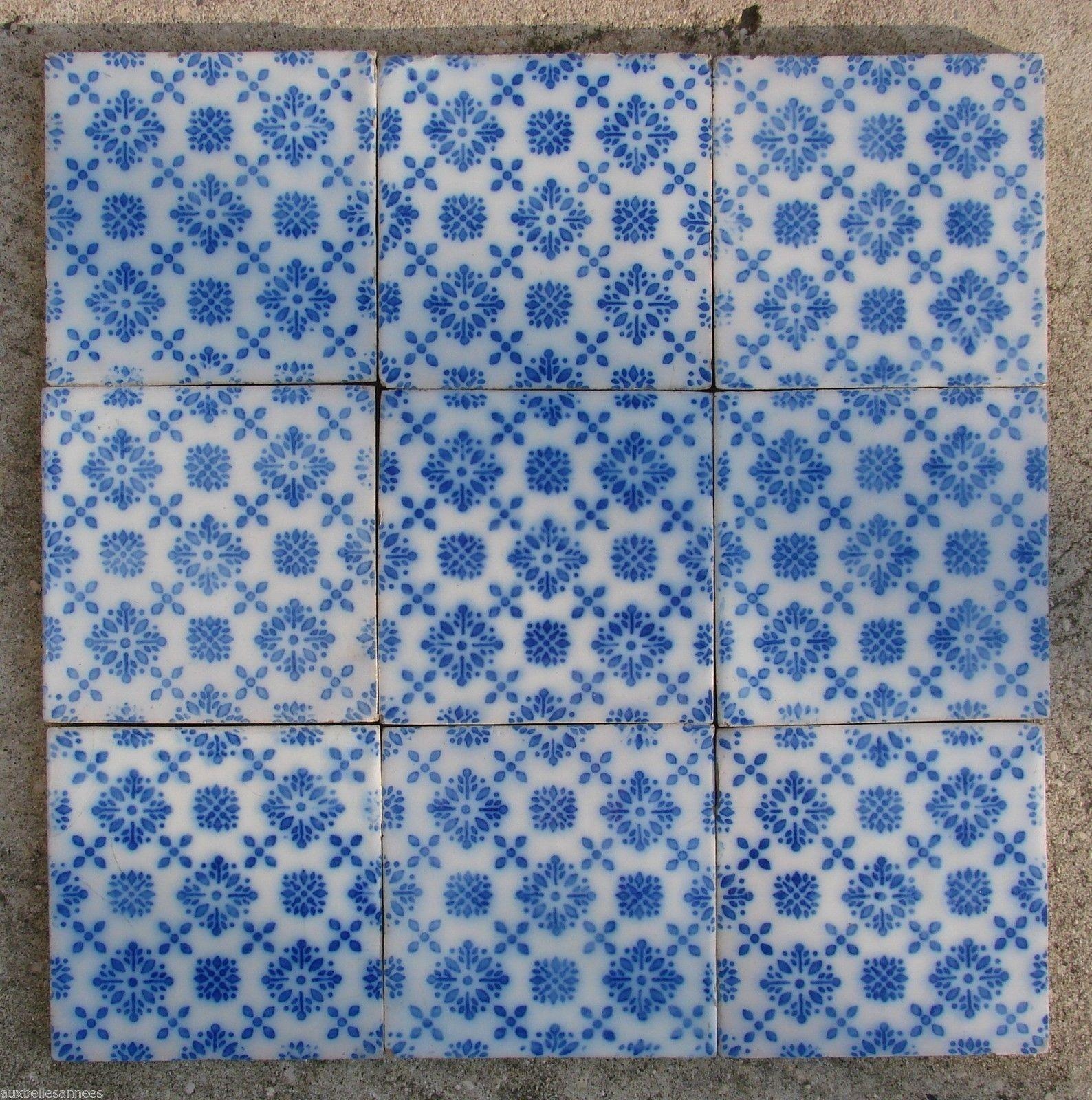 Ancien Carreau De Faience Terre Cuite Motif Bleu Carrelage