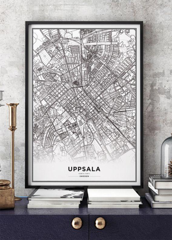 Tavla Poster Med Uppsala Karta Affisch Archiveseven Com