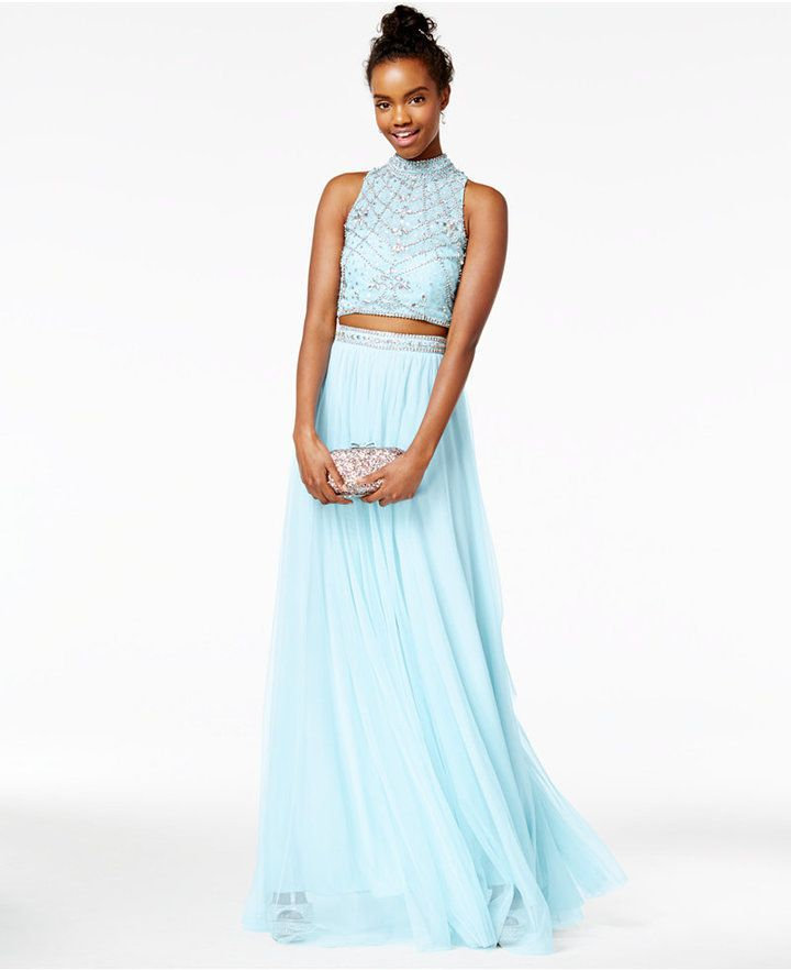 Say Yes To The Prom Juniors 2 Pc Rhinestone A Line Gown A Macys
