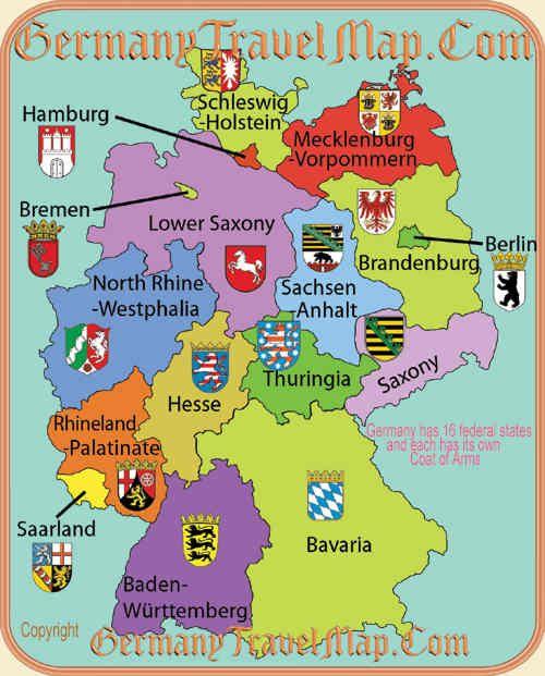 Bundeslander Wappen Karte Deutschland Mecklenburg Germany Und