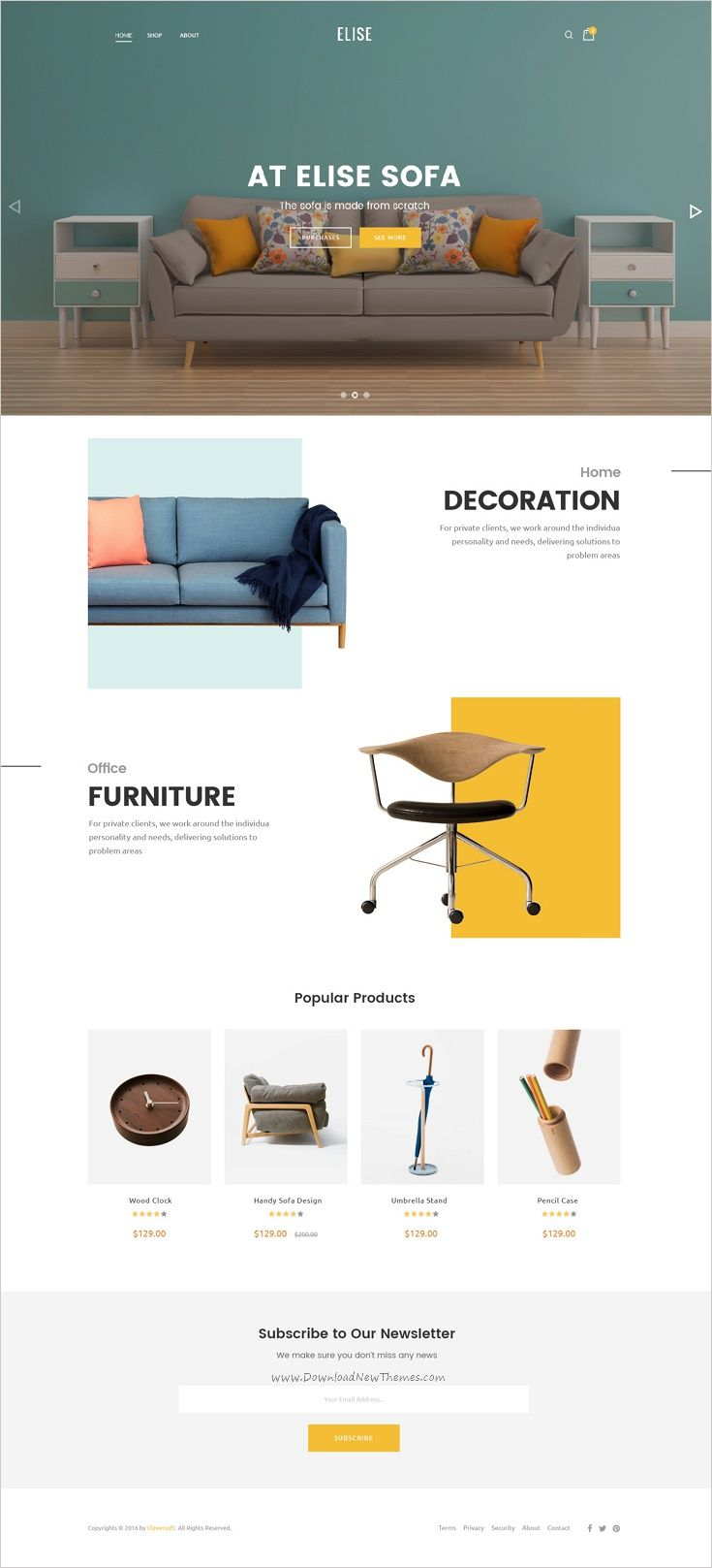Elise Is A Wonderful Premium Psd Template For Furniture Store