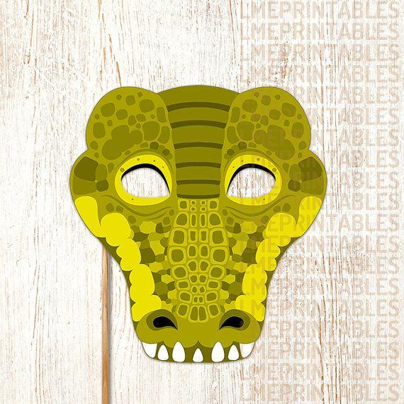 crocodile printable mask reptile green diy animal masks booth prop birthday party game children. Black Bedroom Furniture Sets. Home Design Ideas