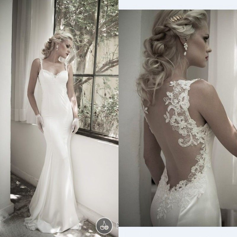 2014 Elegant Satin And Lace Sleeveless Backless Bridal Gowns Sheath Sweep Train Wedding Dresses UM1011