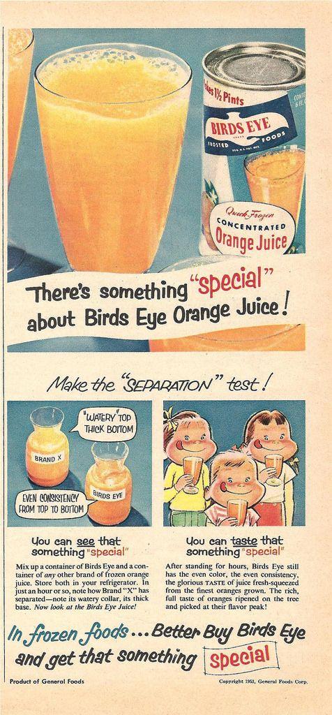 1953 birds eye orange juice ad | Decades | Juice ad, Funny