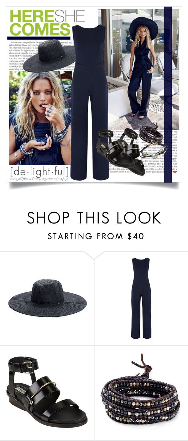 """""""Here She Comes"""" by mila-me ❤ liked on Polyvore featuring Andrea, Tommy Hilfiger, Saloni, Balenciaga, Chan Luu, black, beautiful, Blue, hat and jumpsuit"""