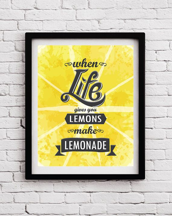 Life and Lemons Quote Poster, Yellow Kitchen decor, Life Typography ...