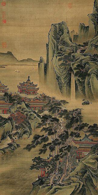 明-仇英-江山无限图 , Artist: Qui Ying (仇英, ca.1494-1552) Ming Dynasty