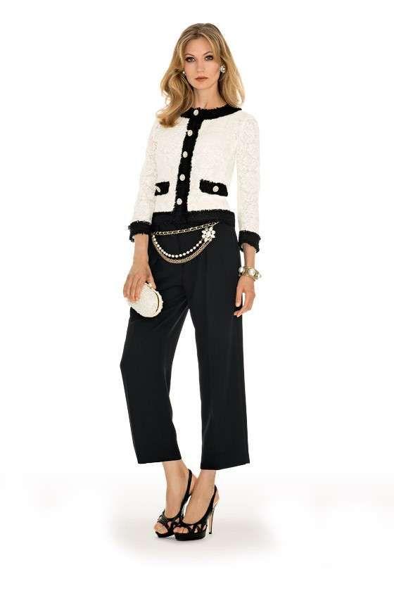 Giacca corta e pantalone Luisa Spagnoli - Abito da cerimonia con pantalone  bianco e nero per il 2015 4d67dcb1988