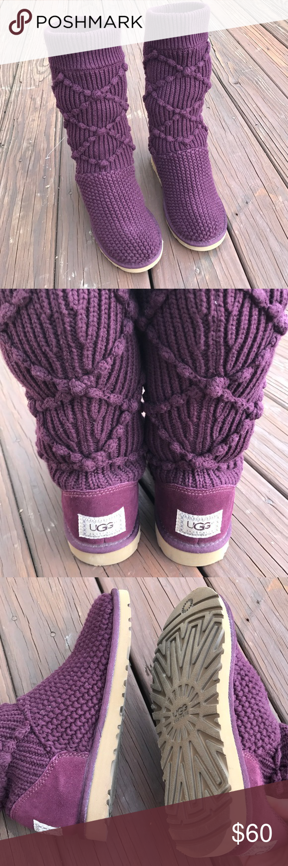 Cable knit UGG boots Dark purple cable knit UGG boots go to about mid calf - never worn outside selling because they are too small for me don't have the box ...