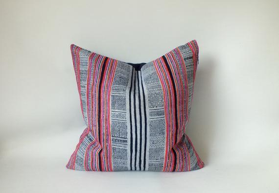 Hmong Pillow Case Vintage Hemp Cushion Cover Hand Woven Homespun Batik Indigo Boho Throw Cushion De Throw Cushions Hand Weaving Pillows