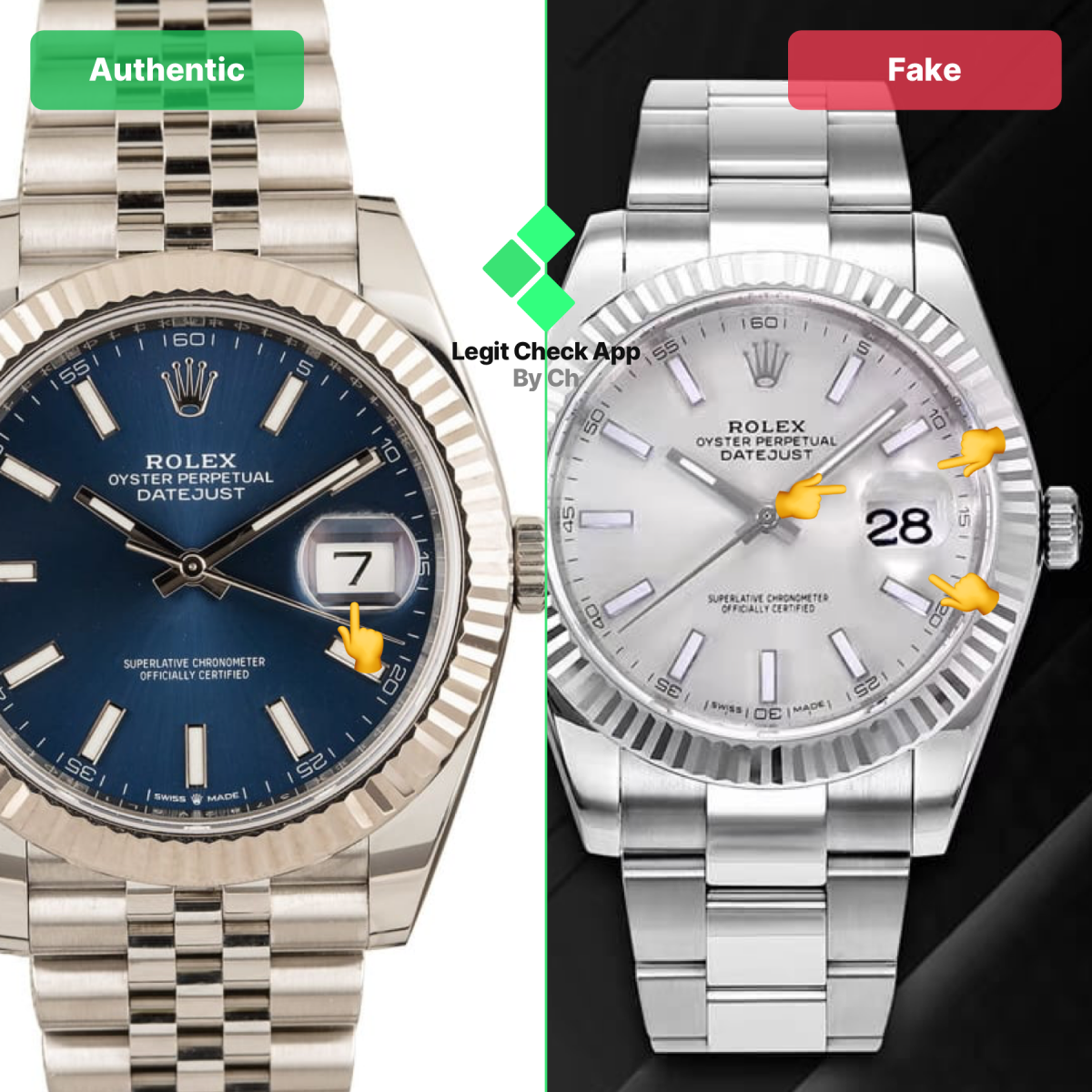 Step 2 Fake Vs Real Rolex Datejust Cyclops Lens Rolex Datejust Rolex Datejust